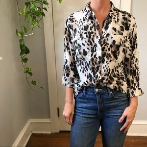 Equipment Leopard Silk Button Down Shirt Blouse